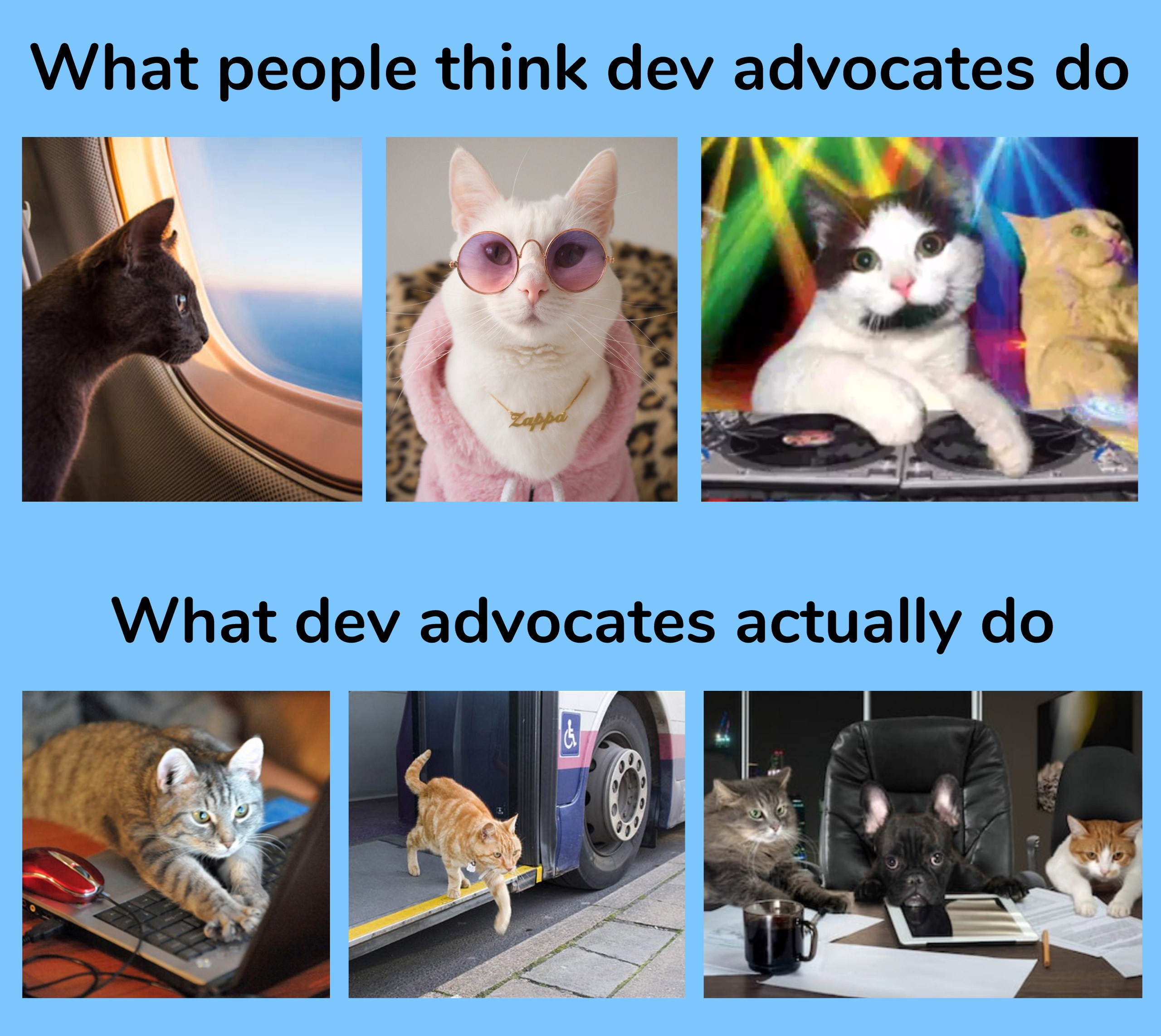 What people think dev advocates do versus what they actually do
